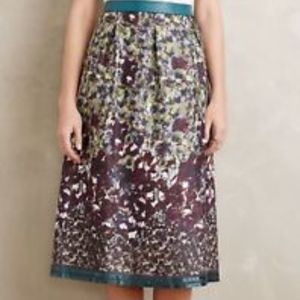 Painted Petal Silk Midi Skirt